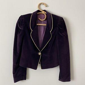 Size 9 Vintage Juniors Purple & Gold Cropped Velvet Blazer Jacket