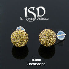 14k Yellow Gold Womens 10mm Champagne Austrian Crystal Ball Studs Earrings