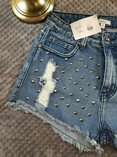 $39 NWT Dani Junior's Sz M Studded High Waisted Shorts Distressed Holes Damaged