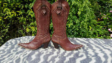 Brown leather studded high heeled cowboy boots UK size 6 EU 39