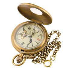 Mens Pocket Mechanical Watch Copper Retro Case Tourbillon Vintage Chain Durable