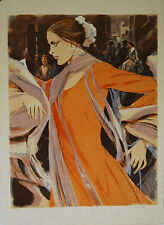"""Femme espagnole à la robe orange"" Lithographie signée Saito SABURO"