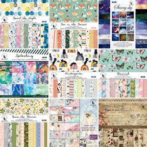24PC 6'' Cartoon Floral Paper Pad Scrapbooking Single-sided Album Paper Crafts