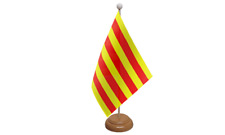 Catalonia Spain Spanish Table Flag with Wooden Stand