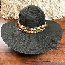 Vintage BoHo Chic Black Beaded Wide Brim Floppy Sun Party Beach Hat 21""