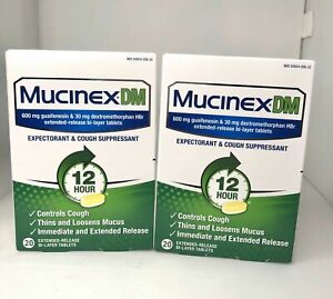 2 Mucinex DM Max Strength 12-Hr Expectorant Cough Suppressant 40 Tabs Exp 08/22