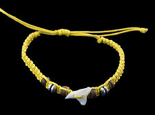 Bracelet brazilian tooth of shark real and pearls wood thread yellow- BB 986