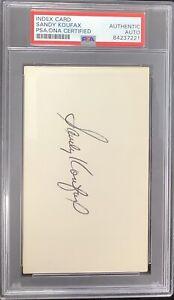 Sandy Koufax Signed Index Card Baseball HOF Autograph Brooklyn Dodgers PSA/DNA