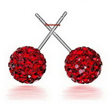 925 Sterling Silver Red Made with Swarovski Crystal Round Ball Stud Earring XE58