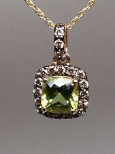 10K Yellow Gold Princess Cut Peridot with Champagne Diamond Halo Pendant New