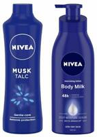 NIVEA Body Lotion,Body Milk (400ml) & NIVEA Talc, Mild Fragrance Powder( 400Grm)