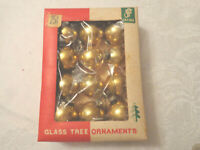 Small Christmas Balls Gold Feather Tree Glass Ornaments 12 original box Vintage