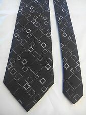 Tie Rack Men's Silk Tie in Black with a Grey and Silver Geometric Pattern