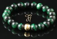 Tigerauge 925er sterling Silber vergoldet Armband Bracelet Perlenarmband grün
