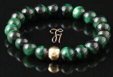 Tiger Eye 925er Sterling Silver Gold Plated Bracelet Pearl Bracelet Green