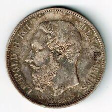 BELGIUM 1867 5 FRANCS (5 FRANK) KING LEOPOLD II .900 SILVER COIN .7234oz BELGES