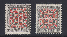 New Zealand SG 587, 587b MLH. 1936-1938 9p Maori Art, 2 diff perfs & watermarks