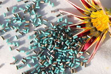 Toho #1 Glass Bugle Beads 7-Frosted Turquoise Apollo  10 grams/ #  Y857F