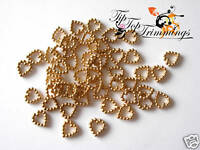 CLEARANCE SALE REDUCED 50 GOLD PEARL LIKE HEART EMBELLISHMENTS 12MM WIDE