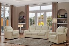 CREAM Leather 3 Seater Sofa or 2 Seater Sofa Suite or Armchair  NEW YORK 311