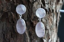 925 Sterling Silver Rose Quartz Fine Earrings Cabochon Natural Gemstone