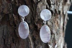 925 Sterling Silver Rose Quartz Fine Earrings Cabochon Natural Gemstone
