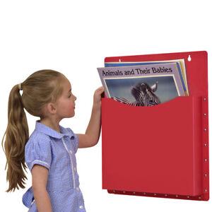 Classroom Office Single Big Book Pocket Filapocket Wall Hanging Storage– Red