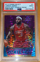 2013 LeBron James PANINI SELECT WHITE HOT PURPLE PRIZM PULSAR #1 /99 PSA 9 BGS