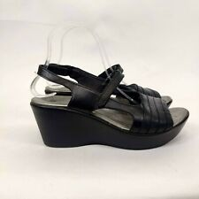 NAOT Black Silver Leather Slingback Wedge Sandals Shoe 40 / 9 Women's