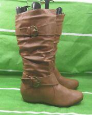 """New ladies Tan  1.5""""wedge hidden heel  Round Toe  Sexy KNEE  Boots Size  10"""