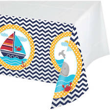 AHOY MATEY NAUTICAL TABLECLOTH TABLE COVER BABY SHOWER BIRTHDAY OCEAN PARTY BOAT