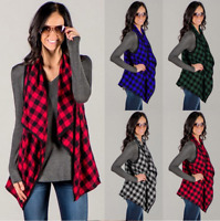 Women Sleeveless Long Plaid Waistcoat Blazer Jacket Suit Vest Cardigan Coat