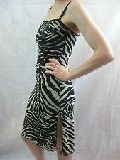 Dolce & Gabbana Mare Size 10 Black Gold Zebra Animal Print Dress