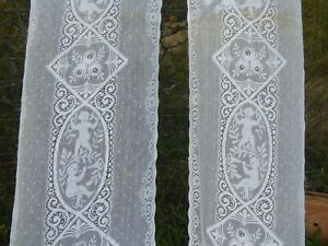 ANTIQUE PAIR OF LONG FRENCH LACE CHERUB CURTAINS