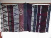 vtg woven wrap shawl throw southwest western aztec navajo indian fabric 40x75
