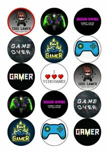 GAMING 15 X EDIBLE CAKE TOPPERS - XBOX & PS PREMIUM ICING OR WAFER CARD
