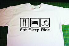 Eat, Sleep, Cycle T-Shirt In White. Size Small.