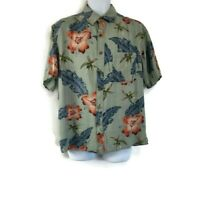 Island Republic  Men's Hawaiian Button Down Silk Shirt sz L Large Floral