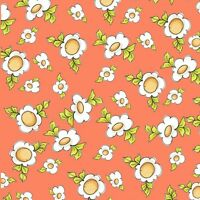 Happy Cats by Loralie orange Daisy Love 100% cotton Fabric by the yard
