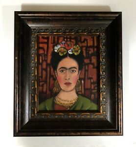 Original Frida Kahlo Portrait painting '' Mexican Flower Woman Geometric