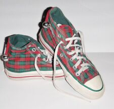 Vintage Plaid Christmas Converse All Star Hi Tops 1980's Made In Usa Mens 3.5