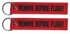 2 REMOVE BEFORE FLIGHT LUGGAGE KEYCHAIN TAG KEY RING PILOT CABIN CREW BLACK/RED