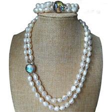 Perle Halskette, Perle Armband, 2 Reihen 8-9mm weiß barock Perle set, 19-20 inch