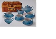 Children's 13 piece BLUE porcelain play tea set with wicker basket LIVING PLAY