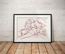 Erotic Lesbian line art, print, poster, prints, posters, gift, gifts