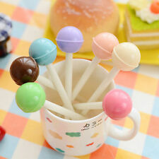 6Pcs Fashion Cute Colorful Lollipop Ball Pen Office School Supply Stationery New