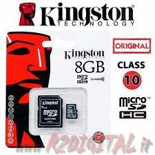 KINGSTON MICRO SD 8 GB CLASSE 10 TRANSFLASH SCHEDA MEMORIA HC 8GB ADATTATORE