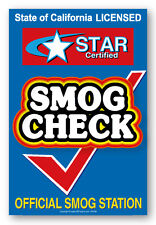 """Smog Check, Star Certified, 24"""" x 36"""" window decal label sticker sign"""