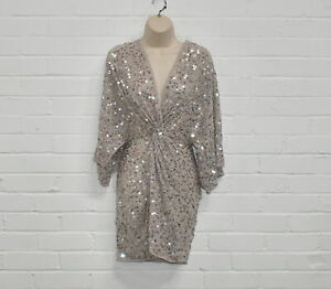 Asos Size 6 Tunic Top Polyester     Sequin Party Wear - Beige