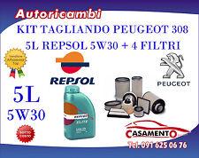 KIT TAGLIANDO 5L REPSOL 5W30 + FILTRI PEUGEOT 308 1.6 HDI 16V 82KW DAL 03/10-->